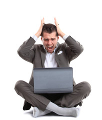 Man shouting at laptop