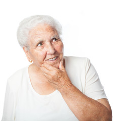 old woman thinking on a white background