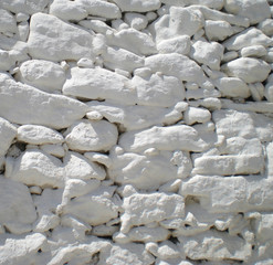 whitewashed masonry wall