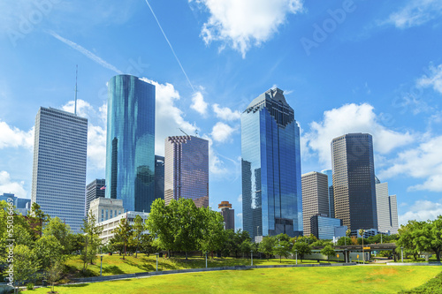 In de dag Texas Skyline of Houston, Texas