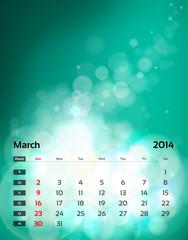 Vector calendar 2014 - March