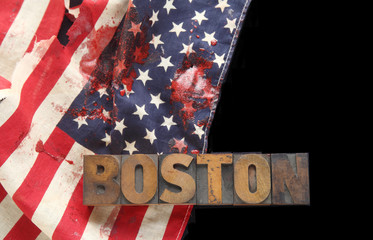 bloodstains on USA flag with Boston word