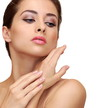 Beautiful woman touching hands clean skin isolated. Closeup port