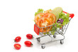 Tomato slice and mix fresh vegetable in shopping cart