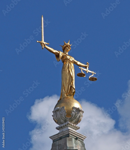 Statue of Justice on top of Old Bailey, Criminal court, London
