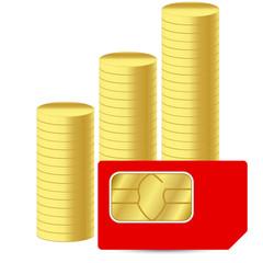 Sim card with coins