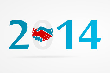 Year 2014 with shake hands logo