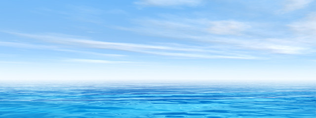Conceptual sea or ocean water with sky banner