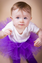 Baby girl in tutu shirt