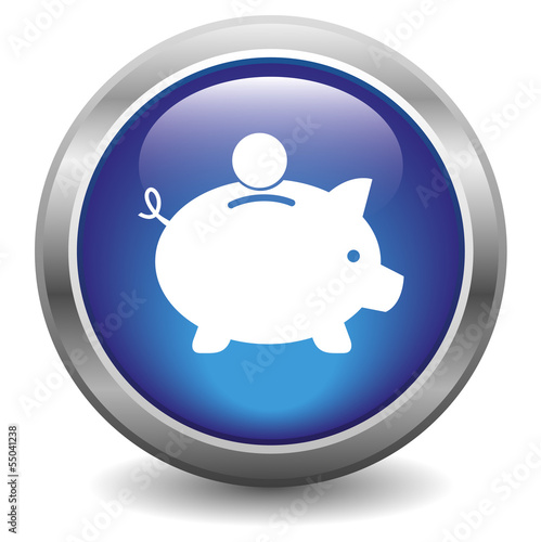 Iggy bank icon. blue