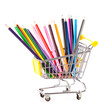 color pencils in shopping cart.