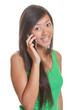 Asian girl smiling on the phone