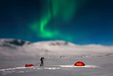 Winter Camping in Sweden with northern lights