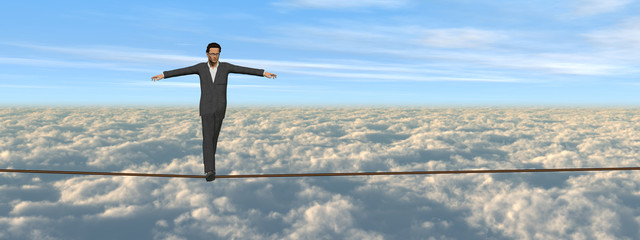 Conceptual 3D business man on rope banner