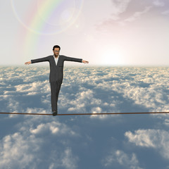Conceptual 3D business man on rope