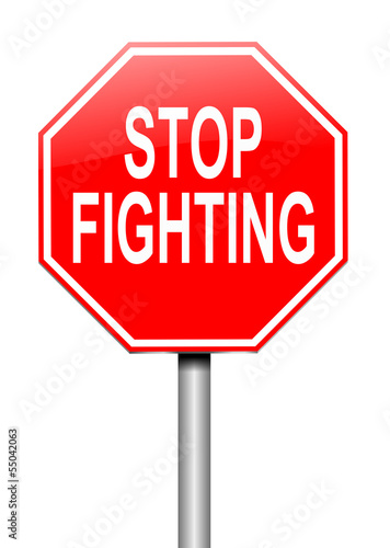 Stop fighting concept.