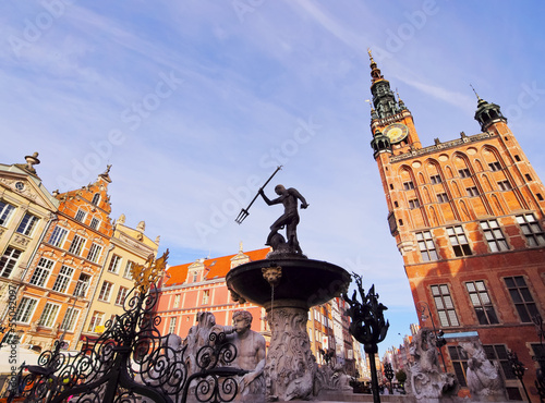 Neptune Fountain in Gdansk, Poland
