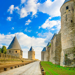 Carcassonne Cite, fortified city on sunset. Unesco, France