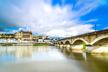 Amboise, village, bridge and castle. Loire Valley, France