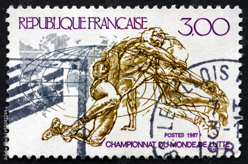 Postage stamp France 1987 Wrestling