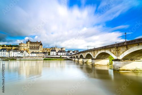 Poster Amboise, village, bridge and castle. Loire Valley, France