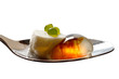 Molecular salad on metal spoon isolated with clipping path