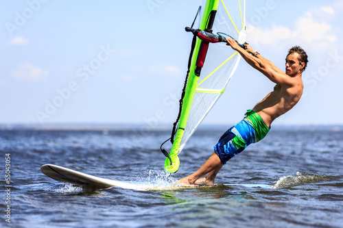 Fast approaching windsurfer