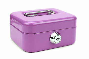 Violet metal cash box isolated on white background.