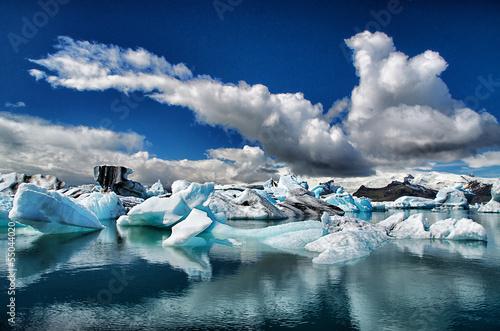 In de dag Gletsjers Gletscherlagune Island