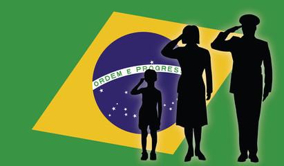 Brasil soldier family salut