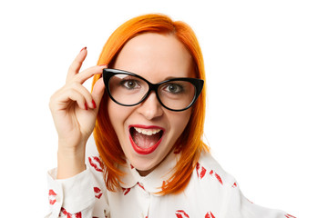Woman wearing cateye glasses