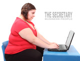 Funny secretary with laptop.