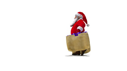 Santa walks with bags. Side verson.