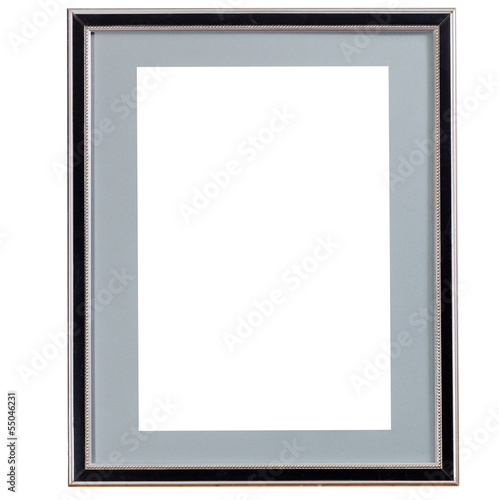 old black narrow picture frame with grey mat
