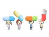 Friends holding colorful pill.