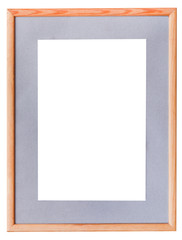 narrow wooden picture frame with grey mat
