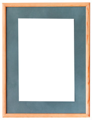 narrow wooden picture frame with green mat