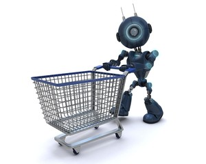 Android with shopping cart