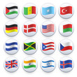 Set of flags printed on white button