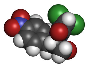 Chloramphenicol antibiotic drug, chemical structure.