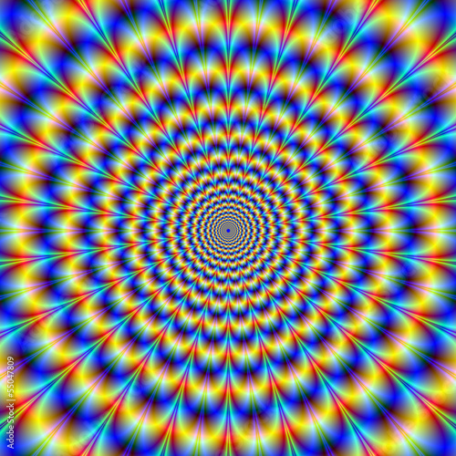Psychedelic Pulse in Blue and Yellow