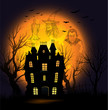 Halloween background with full moon and haunted house