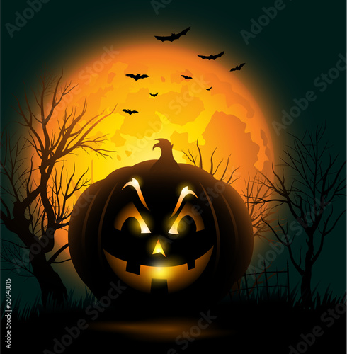 Scary Jack o lantern face Halloween background
