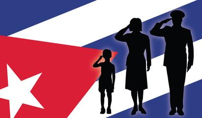 Cuba soldier family salut