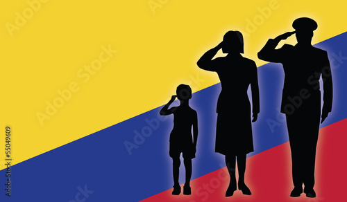 Colombia soldier family salut