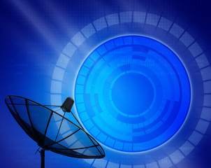 silhouette of satellight dish with blue digital background
