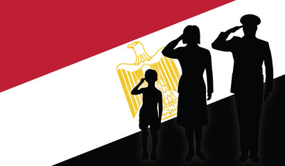 Egypt soldier family salut