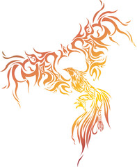 Phoenix with straighten wings Abstract vector illustration