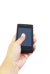 Hand holding smart phone on white background, with clipping path