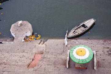 staircase on sacred Ganges river coast in Varanasi, India
